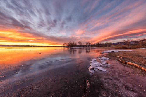 sunrise dawn daybreak clouds trees lake reflections ice beach landscape landscapes lakechatfield chatfieldstatepark chatfieldlake colorado
