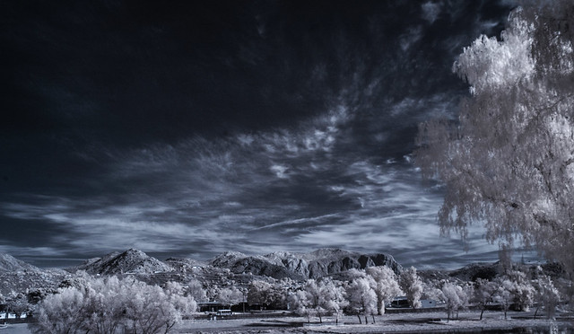 Looking East From Lindo Lake At Trees Mountains And Clouds - Infrared