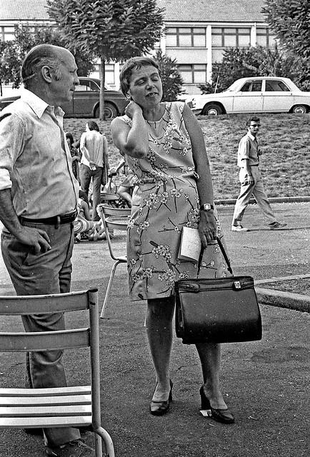 Vintage B&W. July 1974. Besançon (France). Etablissement LIP à Palante. Sympathisants LIP.