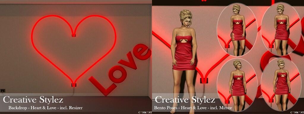 Creative Stylez - Backdrop & Poses - Heart & Love -