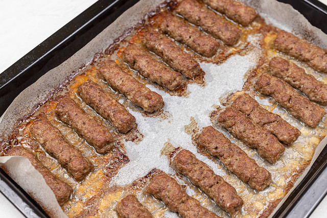 Fresh Kebabs on the baking tray