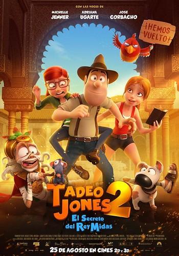 Cartel de la película.Tadeo Jones 2: El Secreto del Rey Midas