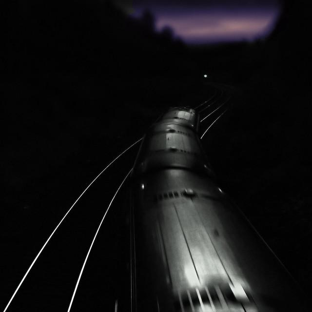 Big black train coming down the track ....