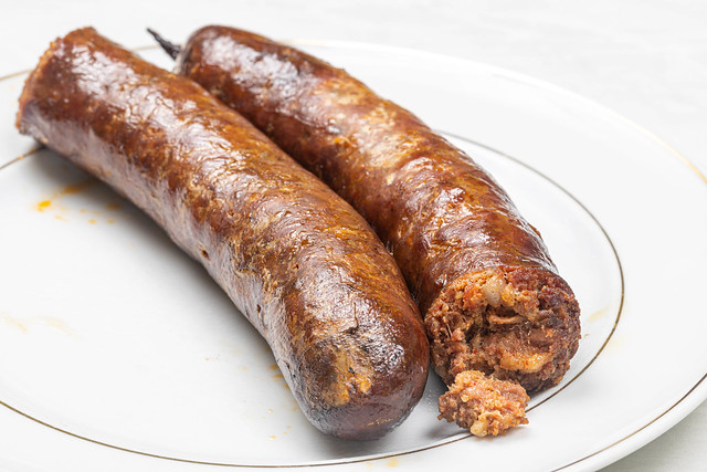 Homemade Pork Meat Sausages served on the plate