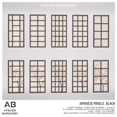Atelier Burgundy . Japanese Panels Black