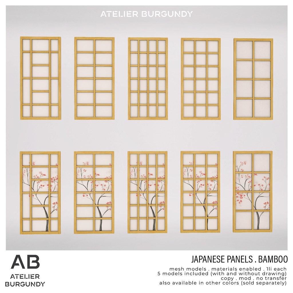 Atelier Burgundy . Japanese Panels Bamboo