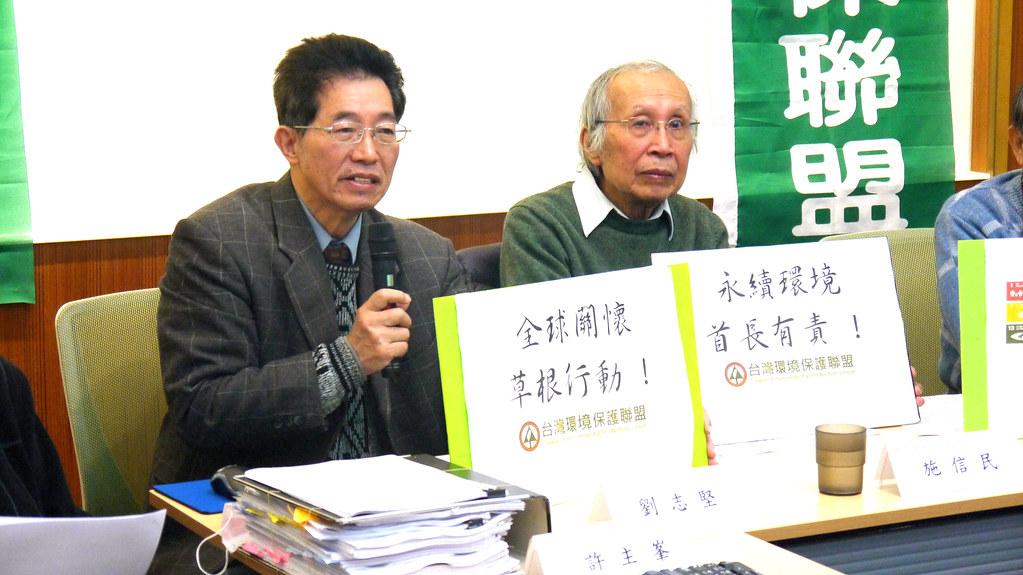 台灣環保聯盟會長劉志堅(左)。黃思敏攝