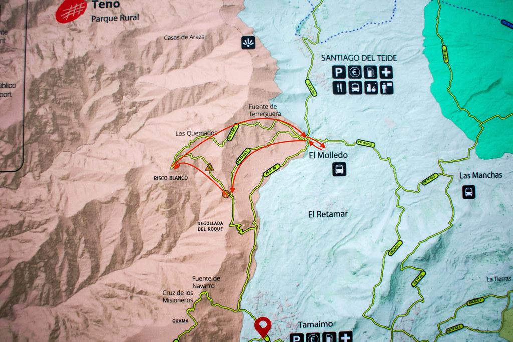 Mapa del sendero de Risco Blanco en Teno