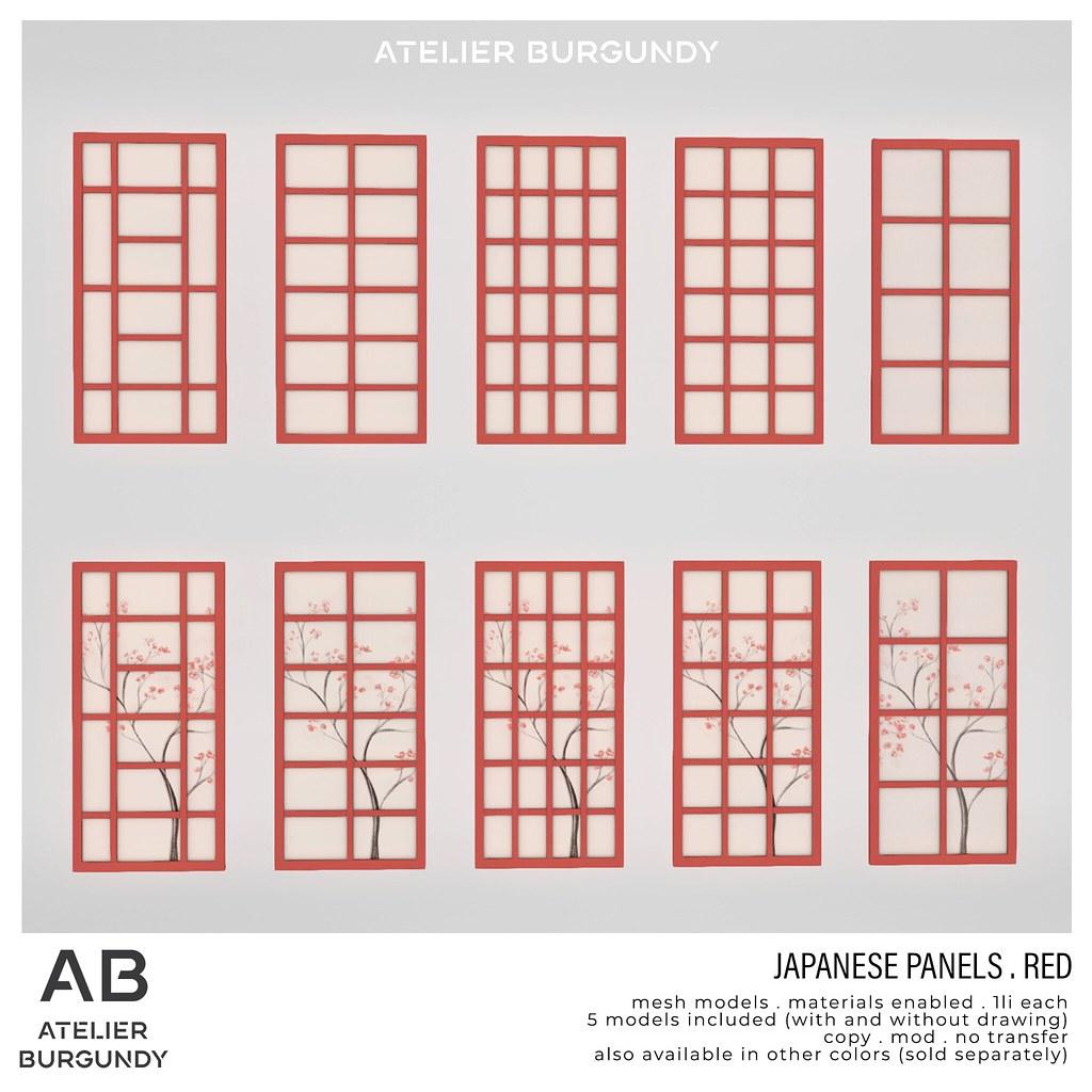 Atelier Burgundy . Japanese Panels Red