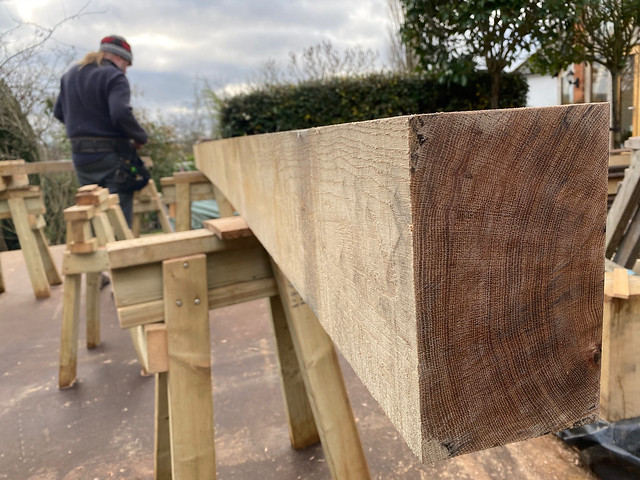 Planed end of end wall sill