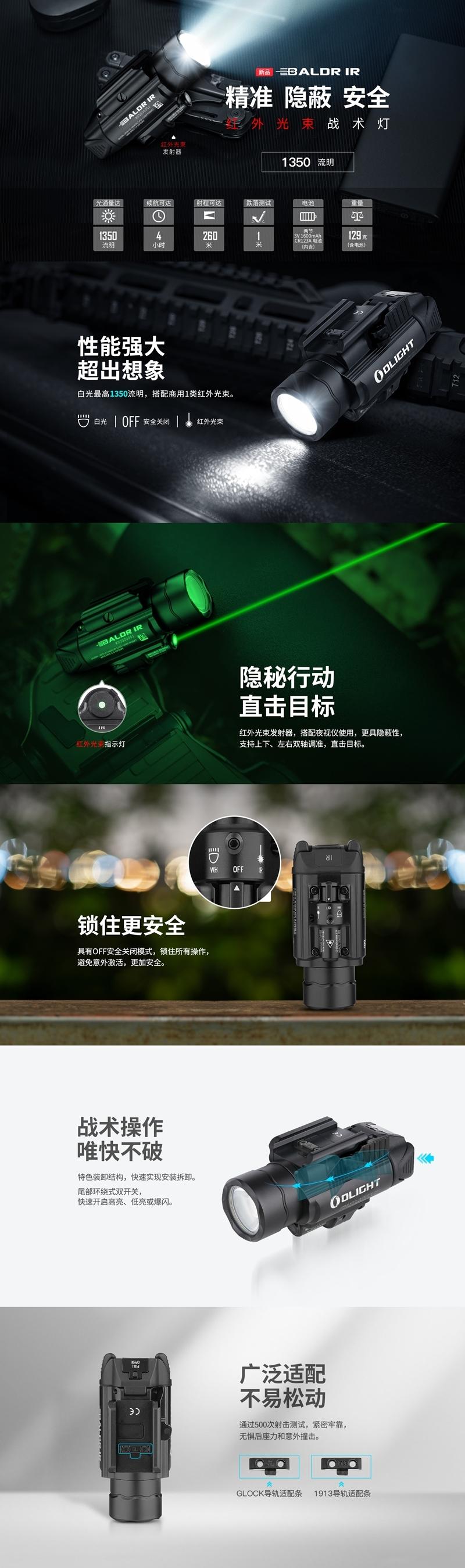 Baldr IR 1350流明 紅外線 瞄準器 白光LED 戰術 槍燈 850nm 0.78mW 紅外線光束 錸特光電 OLIGHT 台灣總代理-13