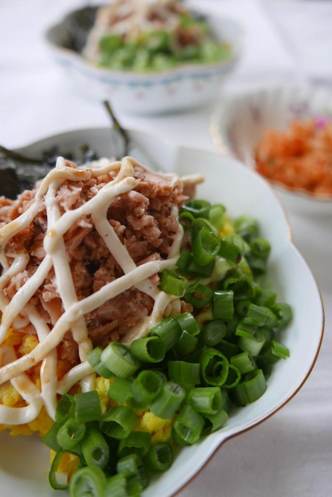 Two Bowls of tuna mayo rice with kimchi.