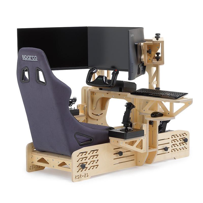 RSR-21 Wooden Sim Racing Rig Rear
