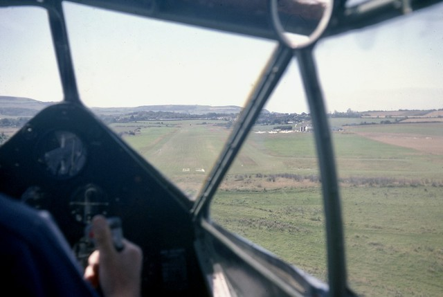The view through the cockpit of DH.89A Dragon Rapide G-AIDL - about to land runway 23 at Sandown airport on the Isle of Wight