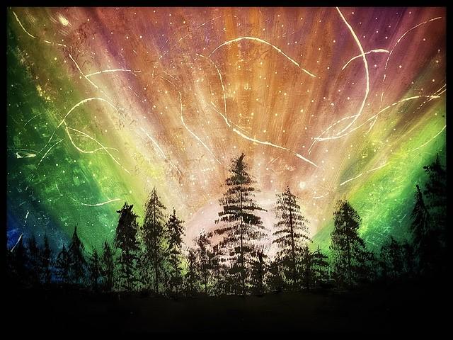 Buona serata con l'aurora boreale.