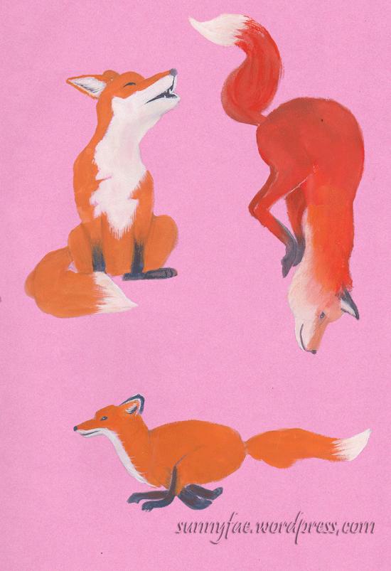 fox gouache sketches