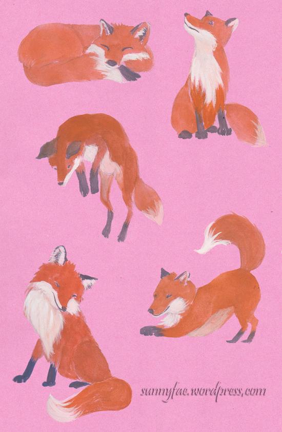 smaller fox gouache sketches