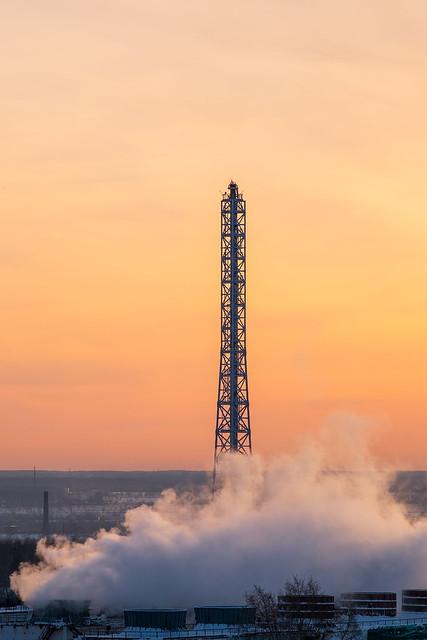 Like a rocket. Siberia, Omsk. Severe cold minus 42 degrees