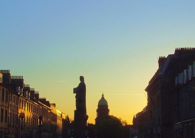 Sunset outlines at Edinburgh, Scotland