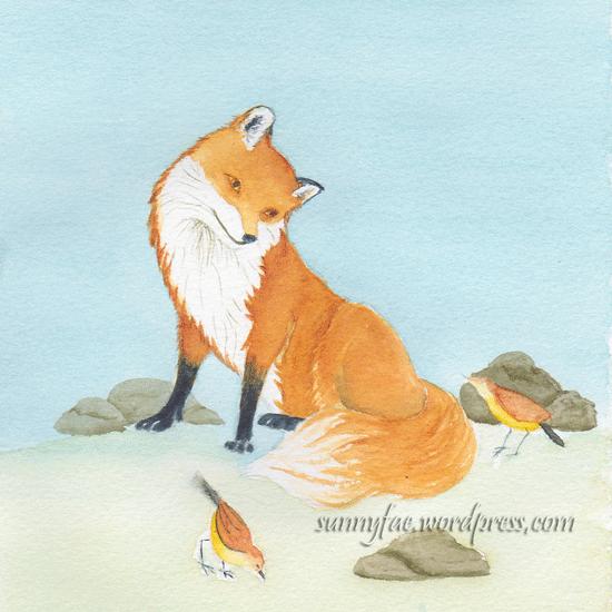 practice fox watercolour