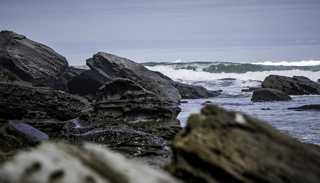 Waves seen through the rocks, South Cape Bay walk, Southwest National Park, Tasmania-14