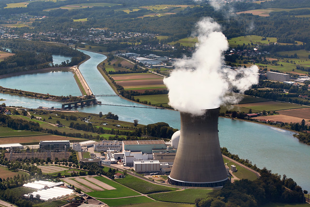 Aerial View Of The The Nuclear Power Plant Leibstadt (kkl), Which Is Located In The Canton Of Aargau