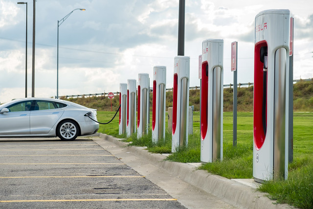 Waxahachie, Texas, Usa - October 1, 2018 - Tesla Destination Charger Station Located Off Interstate