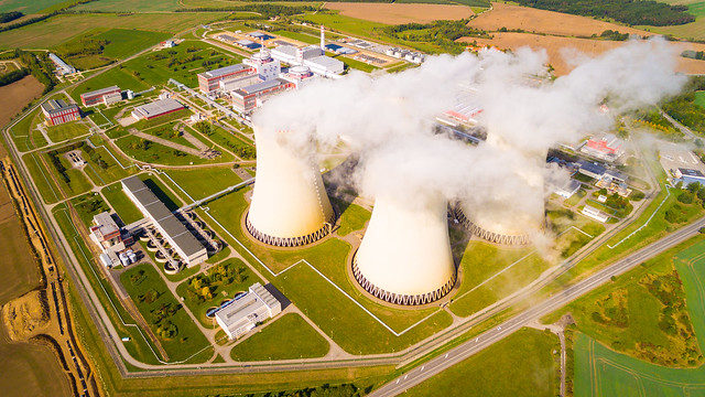 Aerial view to Temelin nuclear power plant.  This power station is important source of electricity f