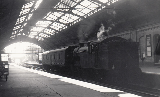 Gresley V1 2-6-2T no.67642 with a Tynemouth-bound parcels train stands at North Shields, 16th August 1961