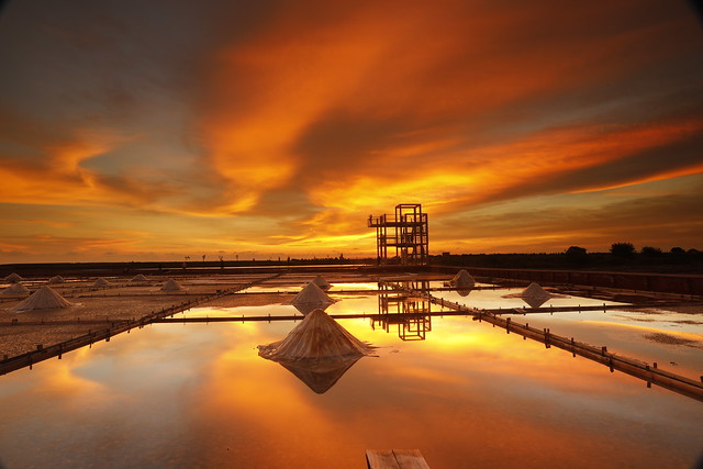 Burning salt fields