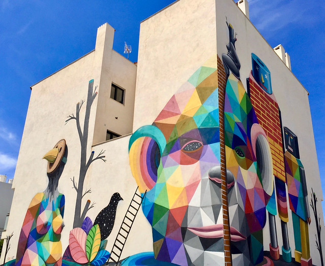 """Parallel Universe"" by Spanish artist Okuda San Miguel, San Antoni de Portmany, Ibiza."