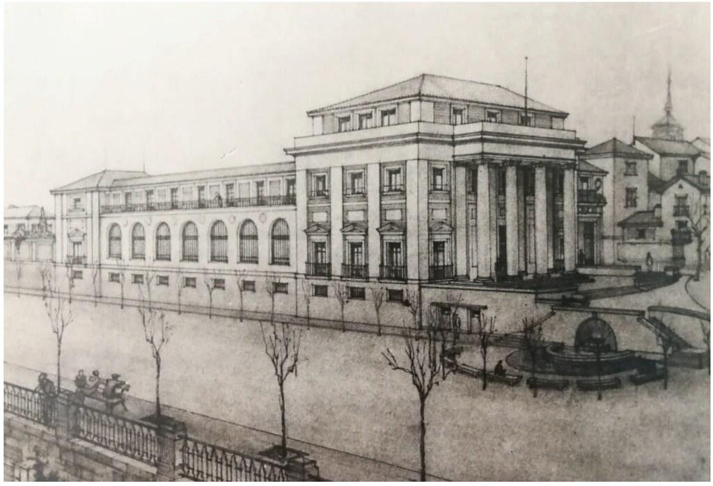Dibujo del proyecto para edificar la sede del Banco de España en Toledo (1935). Contemplaba el derribo del Convento de Santa Fe.