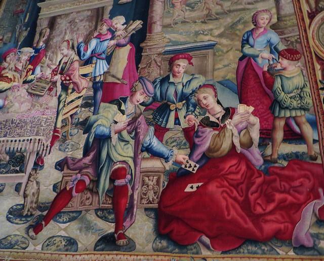 Février, tapisserie des mois Lucas, 1688-1689, chambre de l'empereur, château royal de Pau, Béarn, Pyrénées-Atlantiques, Nouvelle-Aquitaine, France.