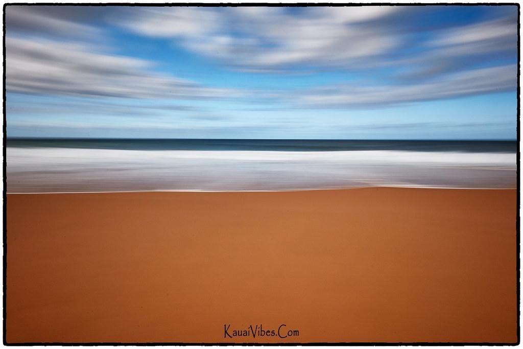 Beach, Surf, Ocean, Sky, Clouds; Abstract.