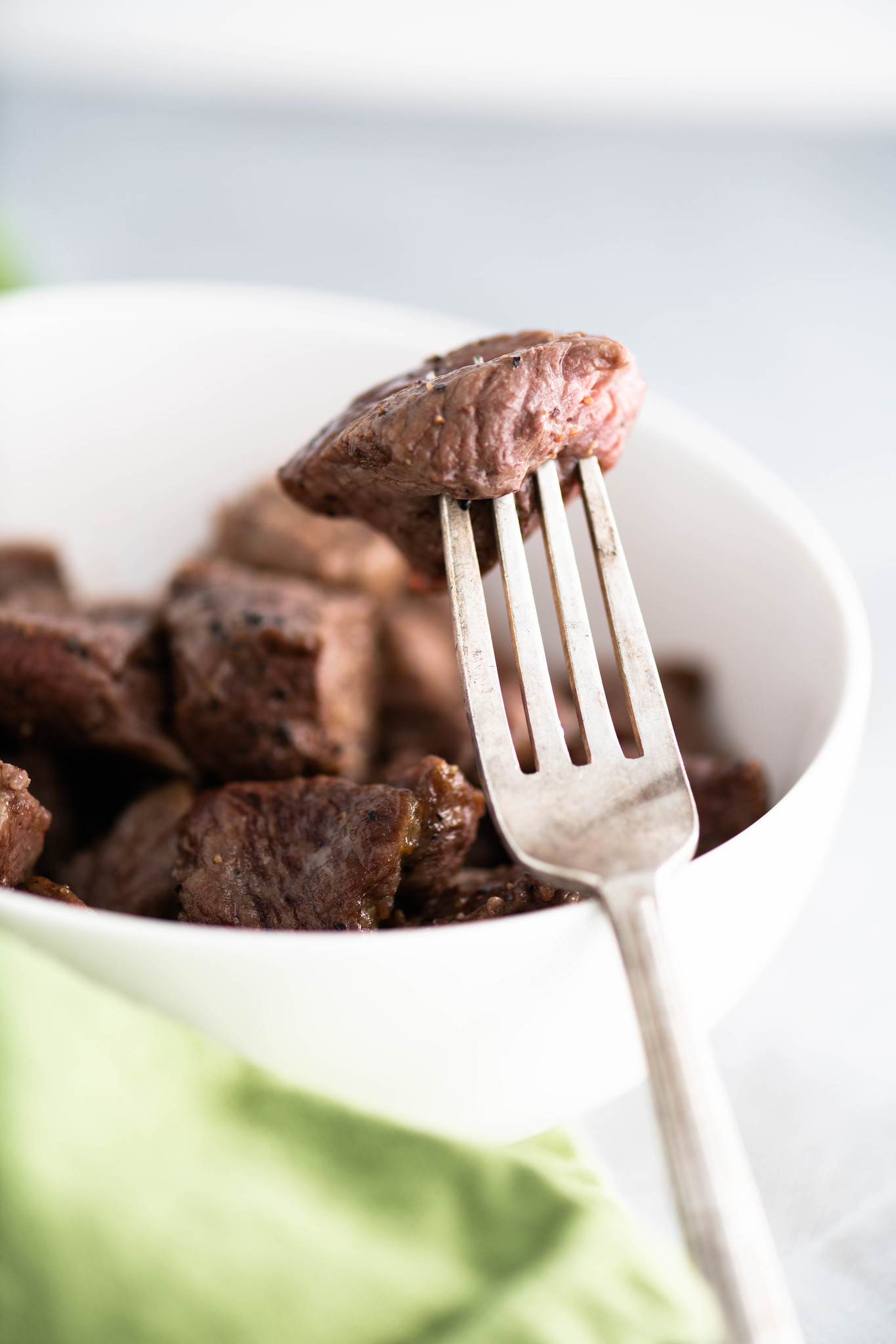 Whether you need a quick appetizer or dinner, these Air Fryer Steak Bites will save the day. Done in minutes and super tender.