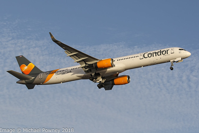 G-JMAA - 2001 build Boeing B757-3CQ, climbing on departure from Runway 21 at Arrecife