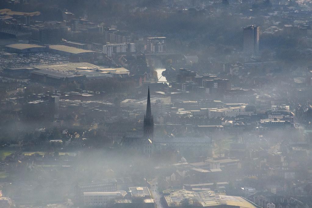 Norwich aerial image - winter mist