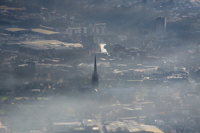 Norwich aerial image - winter mist