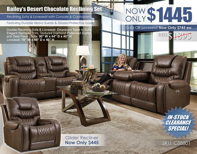 Baileys Desert Chocolate Reclining Sofa & Loveseat Set_88801_2021