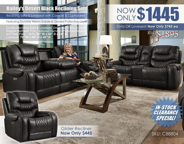 Baileys Desert Black Reclining Sofa & Loveseat Set_88804_2021