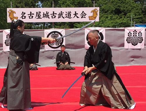 21 representante de Musô Jikiden Eishin ryû iaijutsu: Sekiguchi Komei durante una demostración en el Castillo de Nagoya