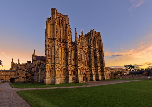 Winter sunset at Wells Cathedral...