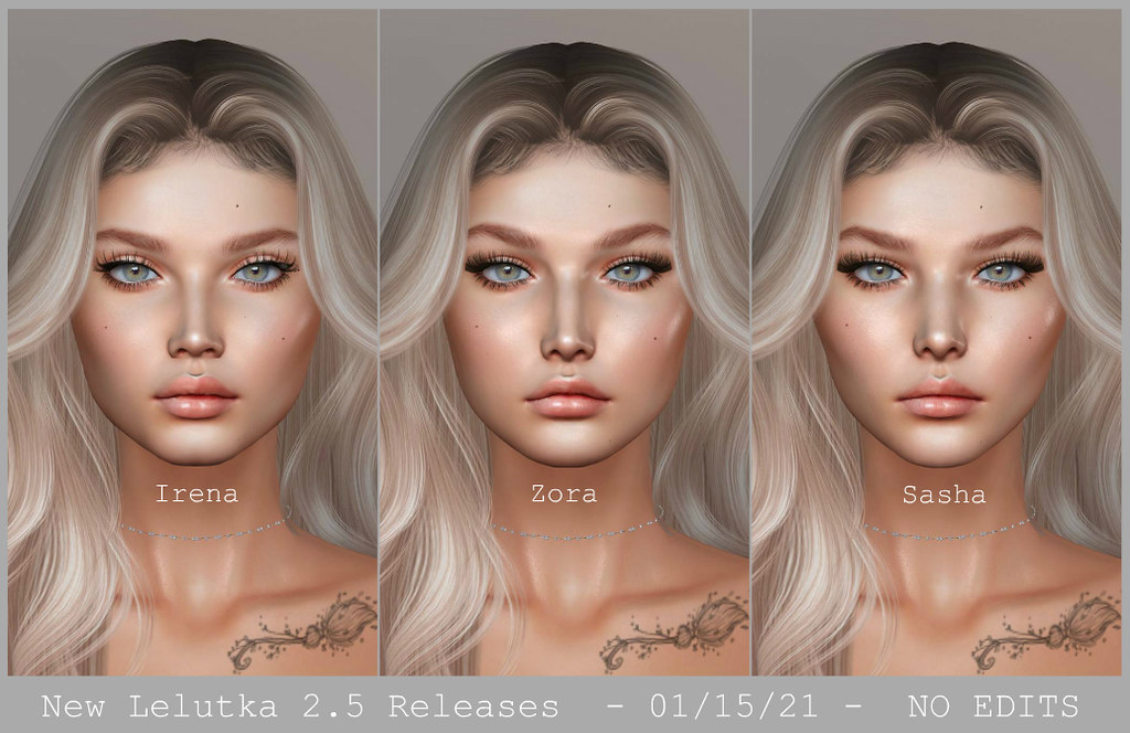 COMING SOON - 3 new female Lelutka Heads - Clean shots / no edit or filter!