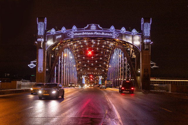 Peter the Great bridge in New Year's lights