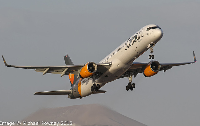 G-JMAA - 2001 build Boeing B757-3CQ, departing from Runway 21 at Arrecife
