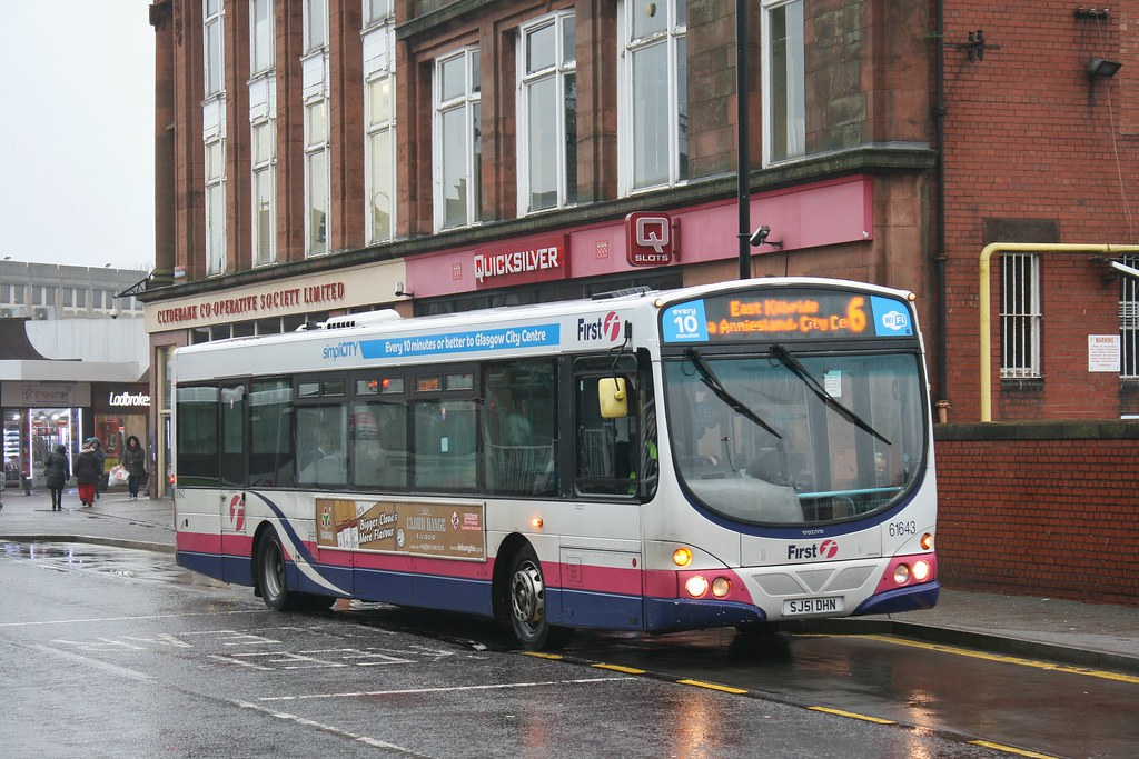 First Glasgow SJ51 DHN (61643; ex-SV654) | Route 6 | Clydebank Bus Station, W. Dunbartonshire