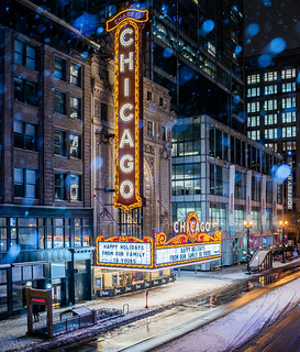 The Chicago Theatre Happy Holidays Marquee - Winter Snow