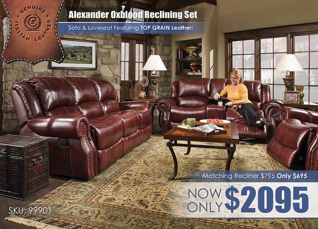 Corinthian Alexander Oxblood Reclining Set_99901_2021