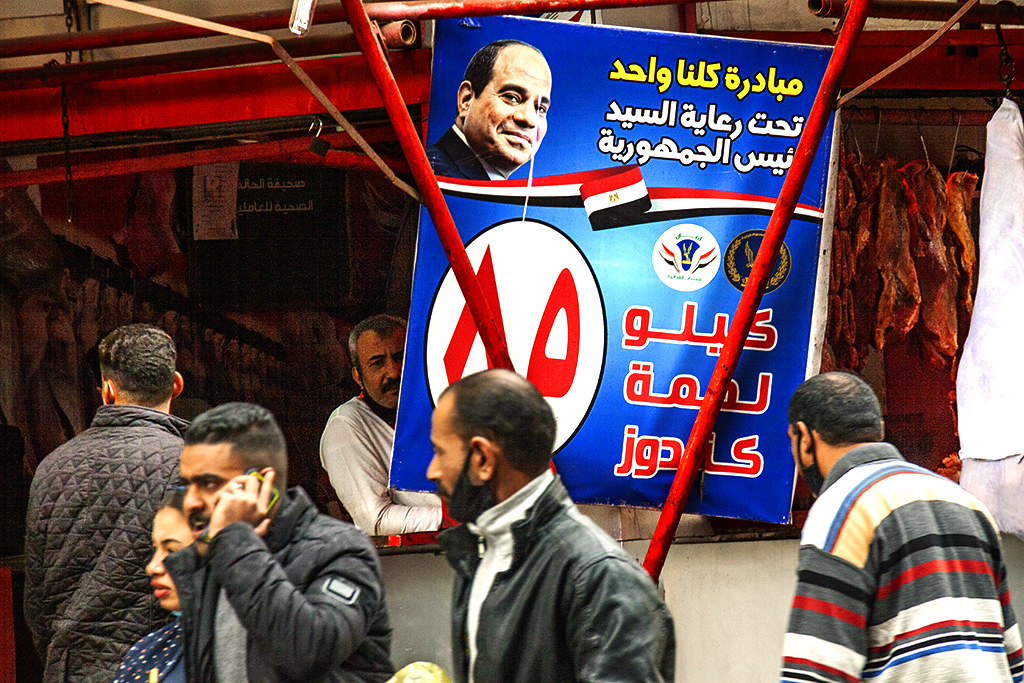 Al-Sisi at butcher shop near Ramses Station on 1-13-21--Cairo