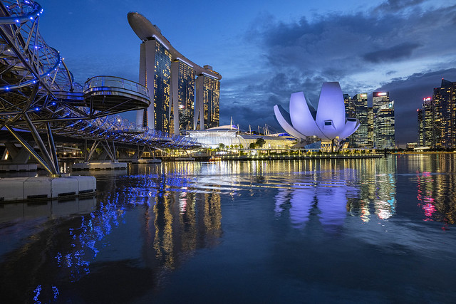 Blue Hour Reflections at Singapore Marina Bay
